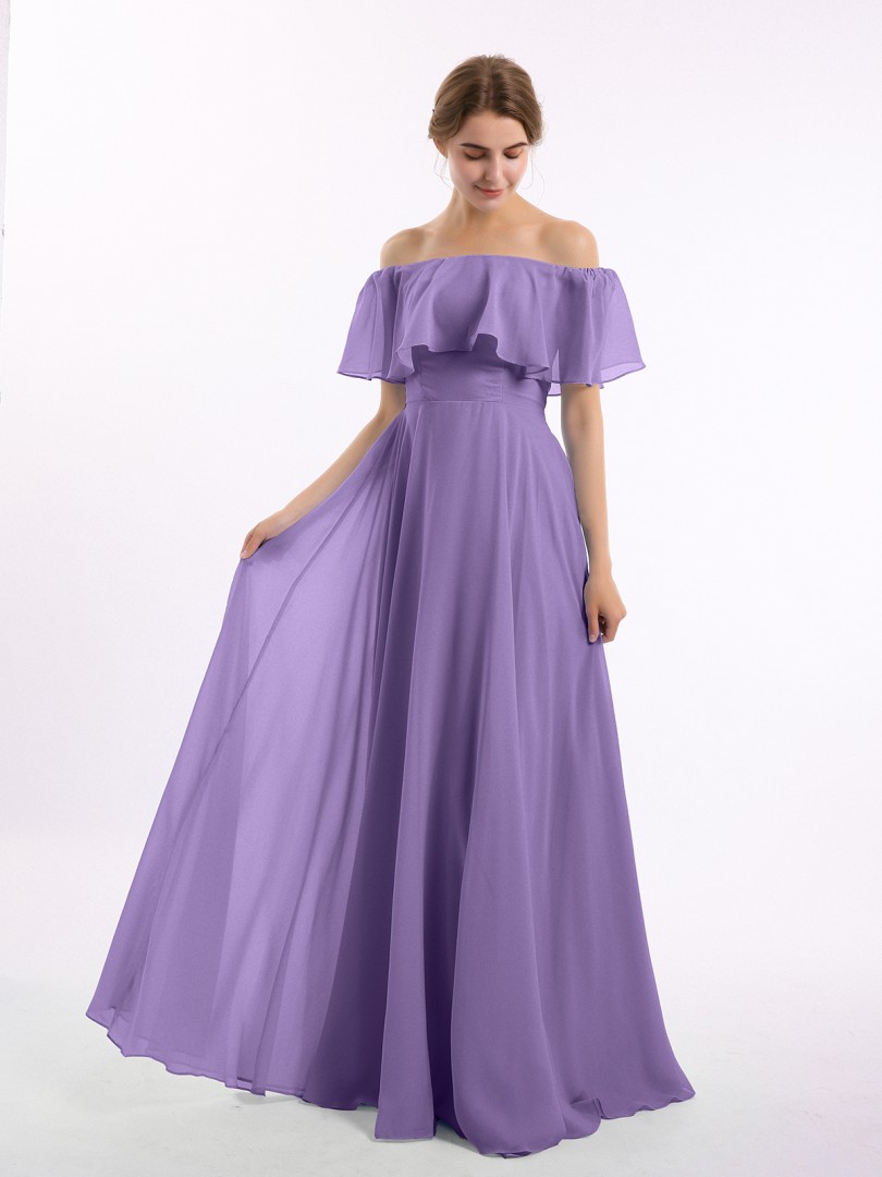 A-line Chiffon Ink Blue Zipper Side Pleated Floor-length Off-the-shoulder Short New Arrivals