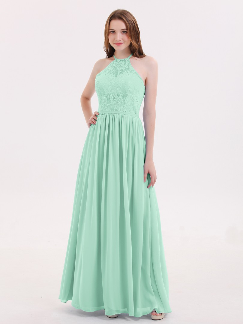 A-line Chiffon Cabernet Zipper Lace, Ruched Floor-length Halter Sleeveless Long Bridesmaid Dresses