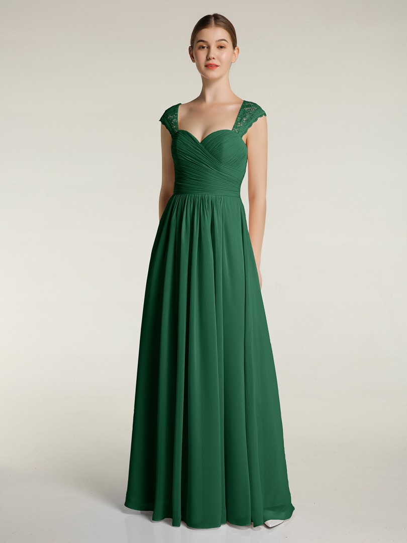A-line Chiffon Dark Green Zipper Lace, Ruched, Pleated Floor-length Sweetheart Cap Sleeve Bridesmaid Dresses