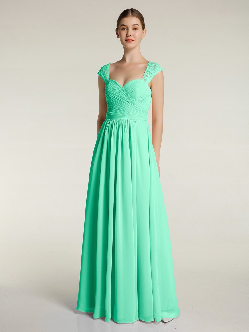 A-line Chiffon Dark Green Zipper Lace, Ruched, Pleated Floor-length Sweetheart Cap Sleeve New Arrivals