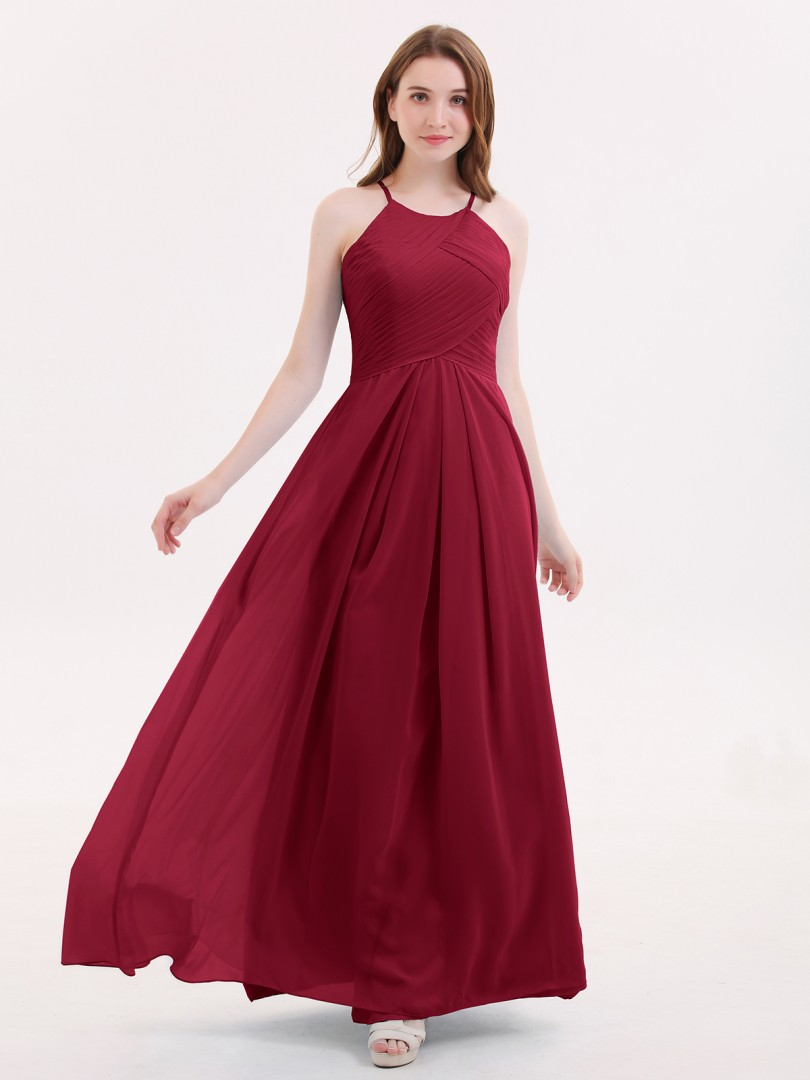 A-line Chiffon Tahiti Zipper Pleated Floor-length Halter Sleeveless New Arrivals