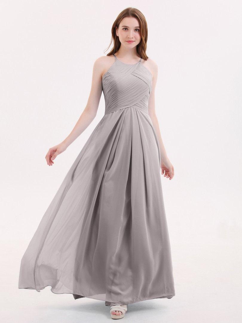 A-line Chiffon Tahiti Zipper Pleated Floor-length Halter Sleeveless Long Bridesmaid Dresses