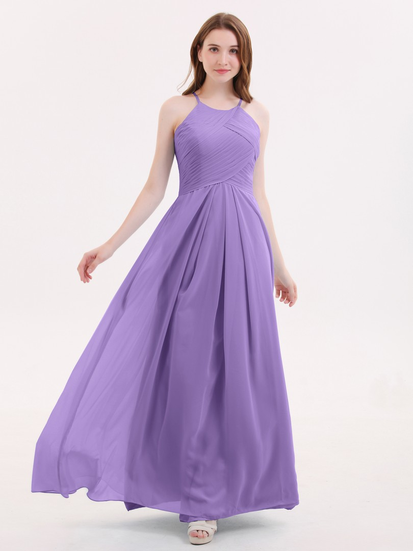 A-line Chiffon Tahiti Zipper Pleated Floor-length Halter Sleeveless Bridesmaid Dresses