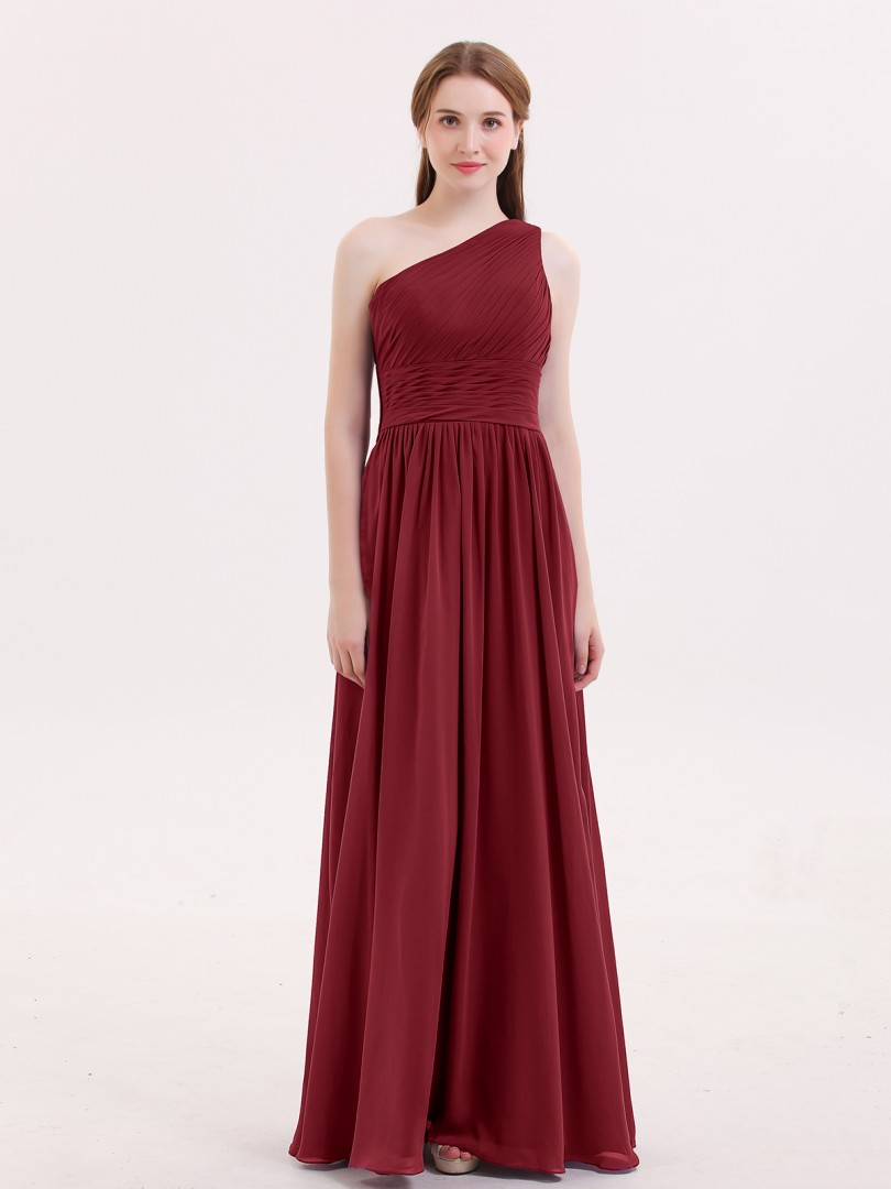A-line Chiffon Grape Zipper Side Ruched, Pleated Floor-length One Shoulder Sleeveless Long Bridesmaid Dresses