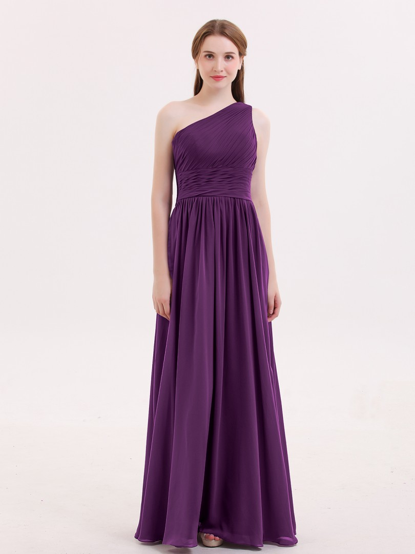 A-line Chiffon Grape Zipper Side Ruched, Pleated Floor-length One Shoulder Sleeveless Bridesmaid Dresses