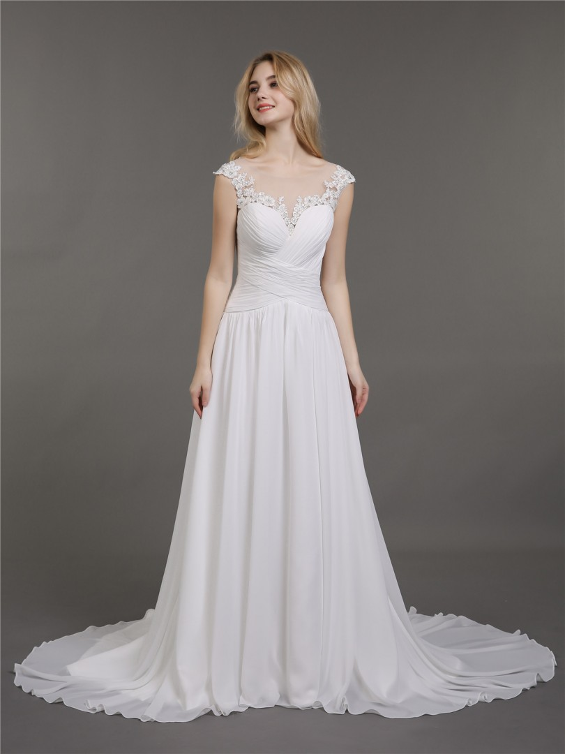 A-line Chiffon Ivory Lace-up Appliqued, Beaded, Pleated Sweep/Brush Train Scoop Sleeveless Wedding Dresses