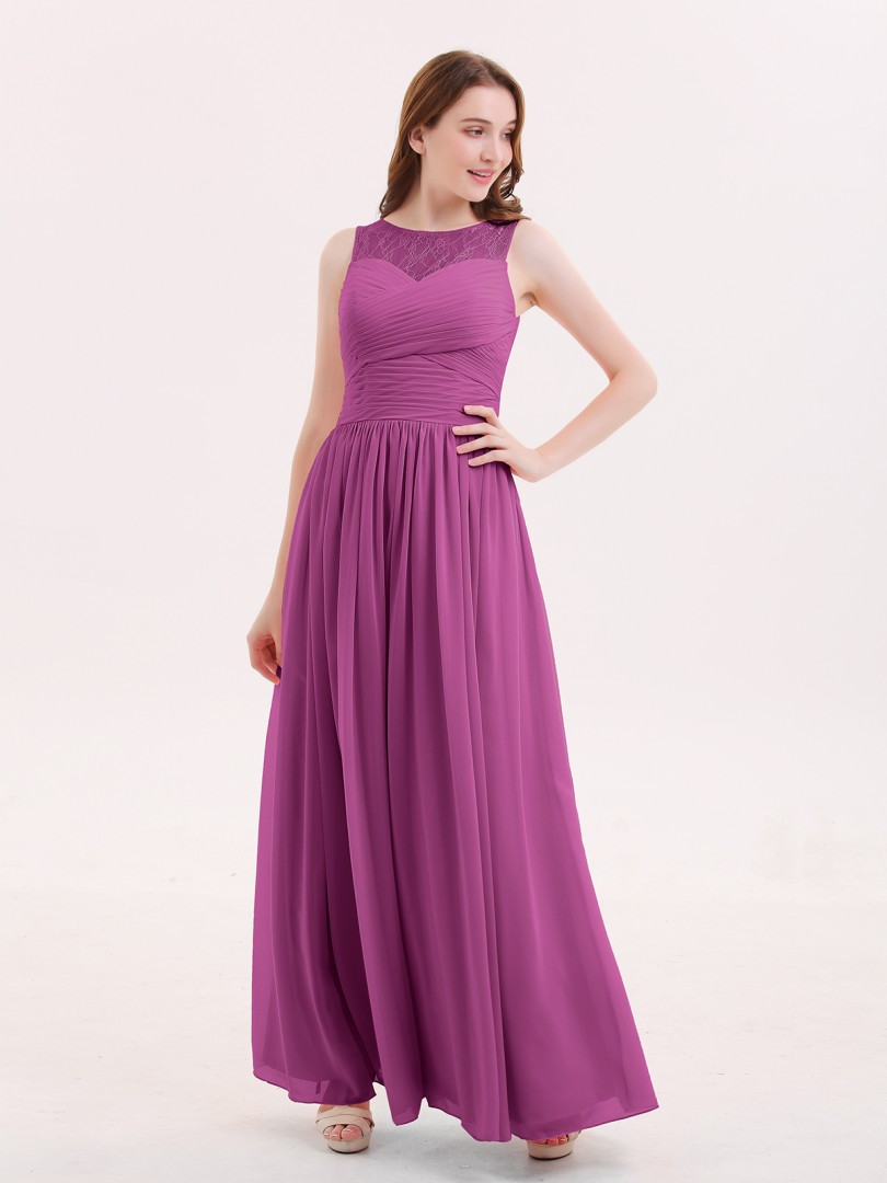 918e8d177cee A-line Chiffon Dusty Rose Zipper Ruched, Pleated Floor-length Illusion  Sleeveless Long. Loading zoom