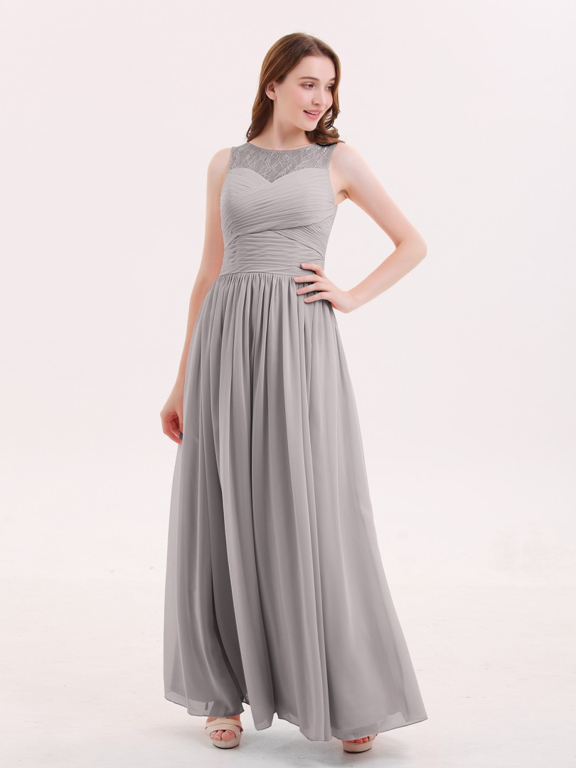A-line Chiffon Dusty Rose Zipper Ruched, Pleated Floor-length Illusion Sleeveless Long Bridesmaid Dresses