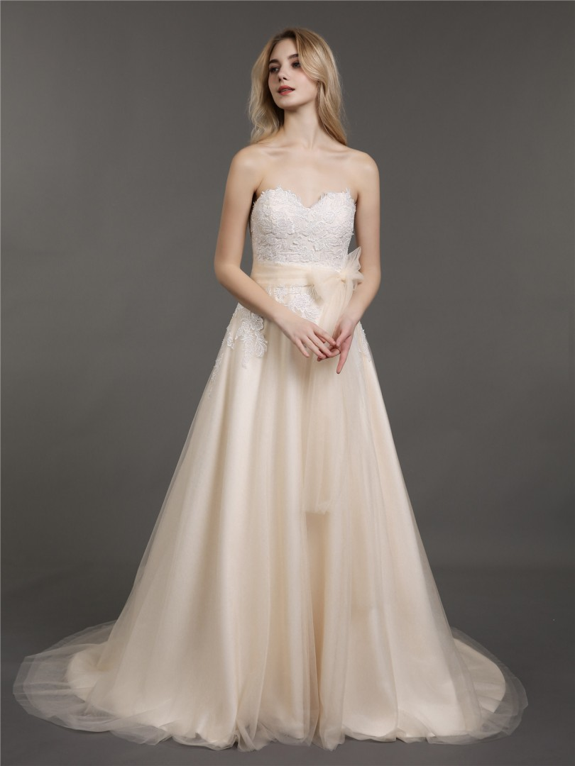 A-line Tulle Champagne Zipper Appliqued, Beaded, Bow Sweep/Brush Train Sweetheart Sleeveless New Arrivals