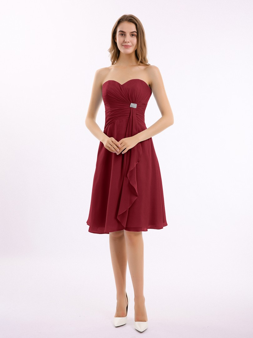 A-line Chiffon Mulberry Zipper Beaded, Ruffle, Pleated Knee-length Sweetheart Sleeveless Short Bridesmaid Dresses