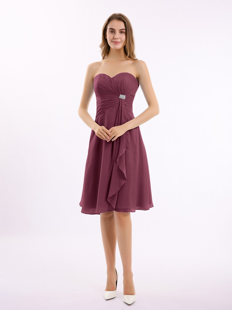 A-line Chiffon Mulberry Zipper Beaded, Ruffle, Pleated Knee-length Sweetheart Sleeveless Bridesmaid Dresses