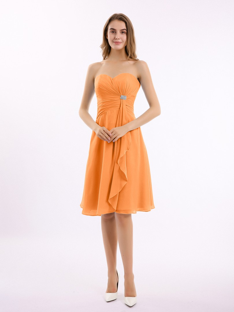 A-line Chiffon Mulberry Zipper Beaded, Ruffle, Pleated Knee-length Sweetheart Sleeveless New Arrivals