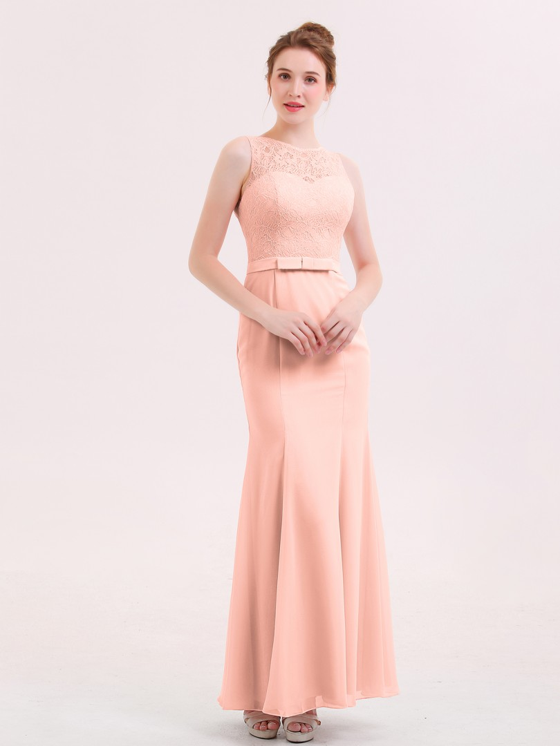 Trumpet/Mermaid Chiffon Lilac Zipper Lace Floor-length Scoop Sleeveless Long Bridesmaid Dresses