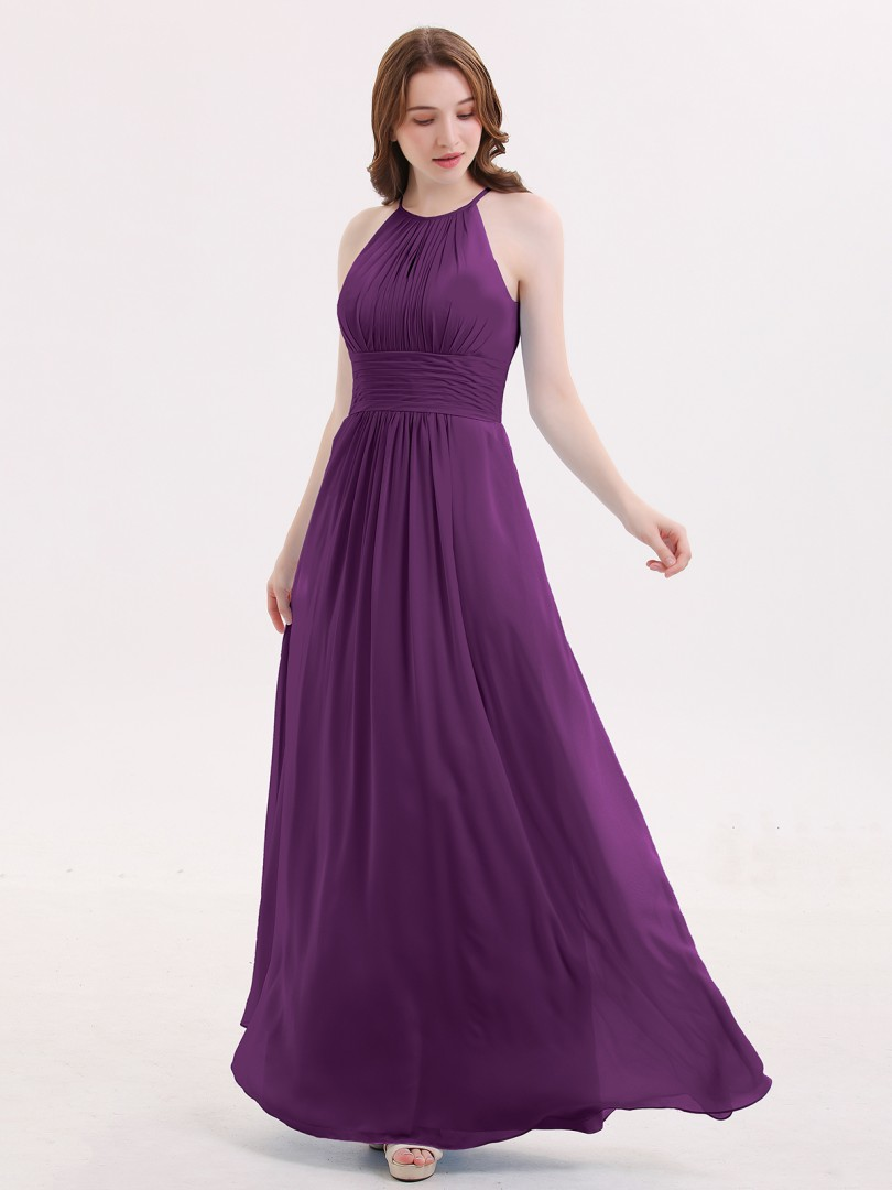 ce6cd7e9eed6 A-line Chiffon Cabernet Zipper Ruched Floor-length Halter Sleeveless New  Arrivals