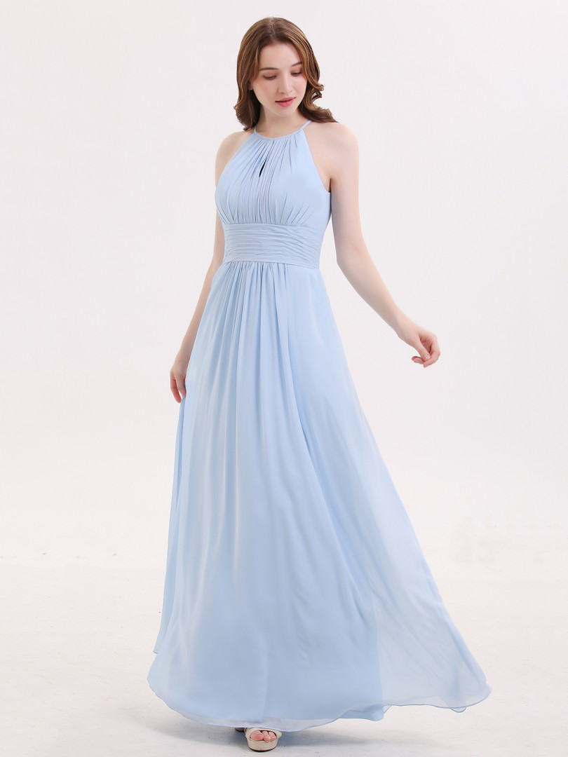 A-line Chiffon Cabernet Zipper Ruched Floor-length Halter Sleeveless Long Bridesmaid Dresses
