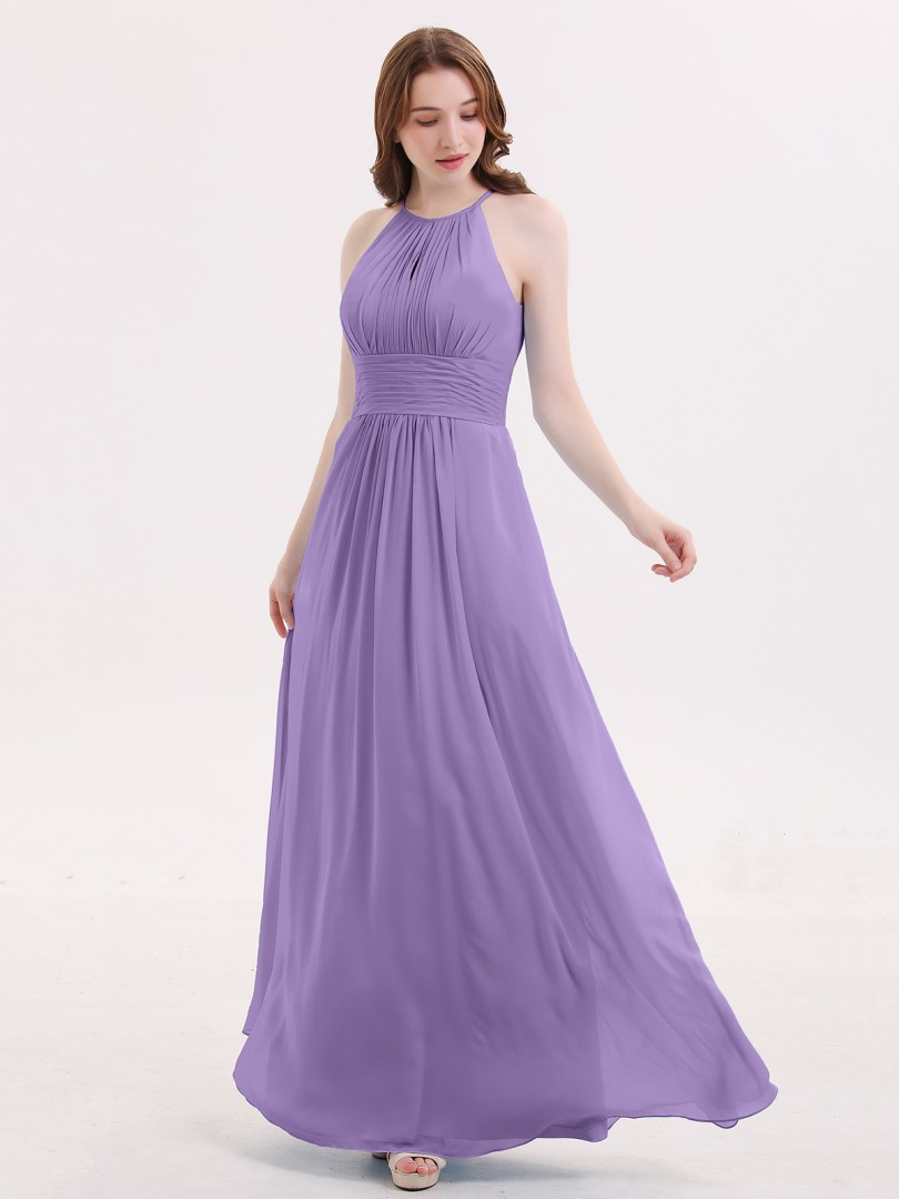 A-line Chiffon Cabernet Zipper Ruched Floor-length Halter Sleeveless New Arrivals
