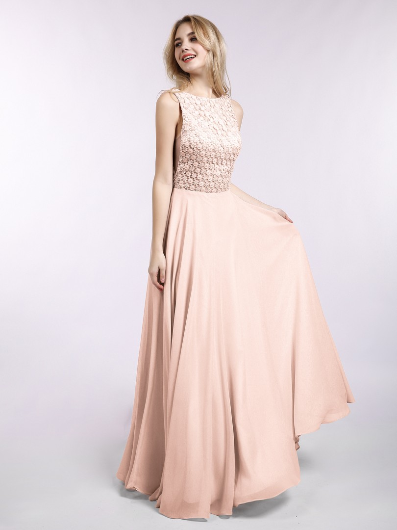 A-line Chiffon Pearl Pink Backless Lace Floor-length Bateau Sleeveless Sexy Prom Dresses
