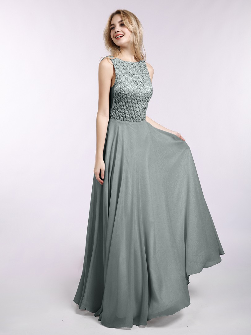 A-line Chiffon Pearl Pink Backless Lace Floor-length Bateau Sleeveless New Arrivals