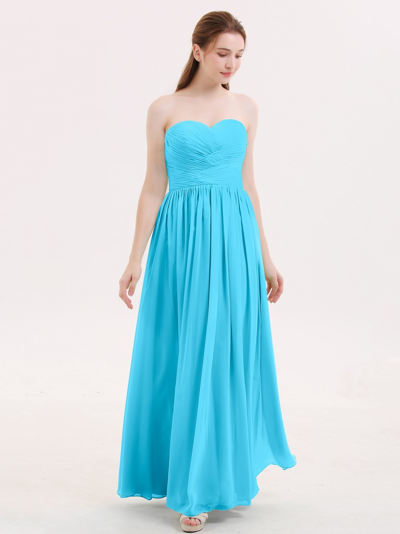 A-line Chiffon Sage Zipper Ruched, Pleated Floor-length Sweetheart Sleeveless Long Bridesmaid Dresses