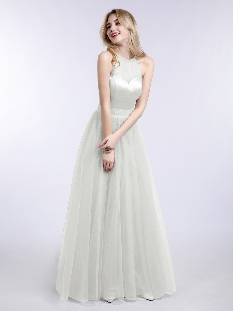 A-line Tulle Silver Zipper Pleated Floor-length Halter Sleeveless New Arrivals