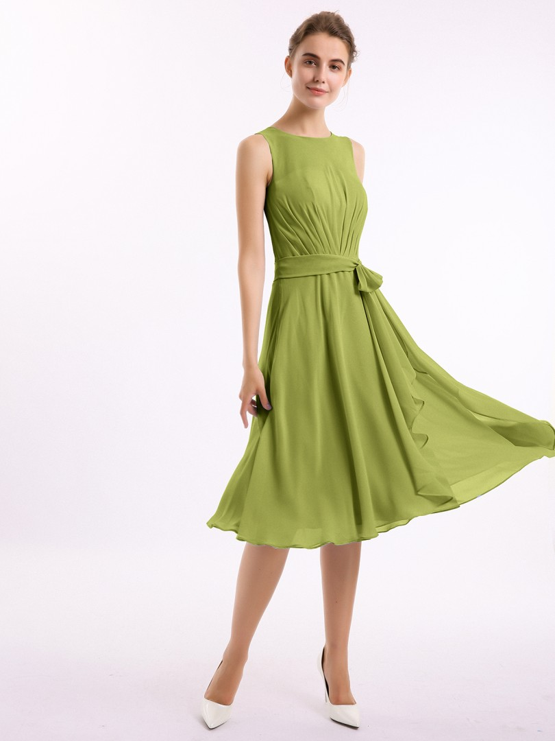 A-line Chiffon Clover Zipper Beaded, Bow, Ruffle Knee-length Scoop Sleeveless Bridesmaid Dresses
