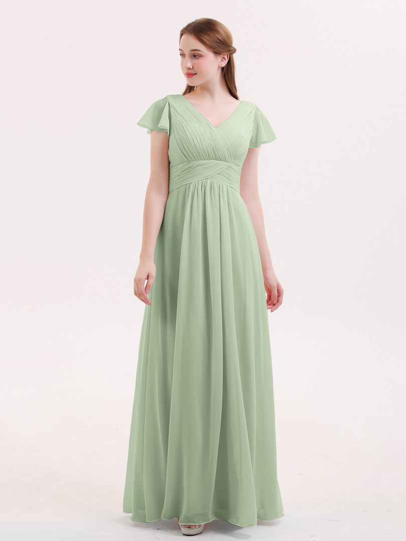 A-line Chiffon Dusty Sage Zipper Ruched, Pleated Floor-length V-neck Cap Sleeve Bridesmaid Dresses