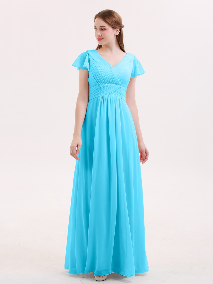 A-line Chiffon Dusty Sage Zipper Ruched, Pleated Floor-length V-neck Cap Sleeve Long Bridesmaid Dresses
