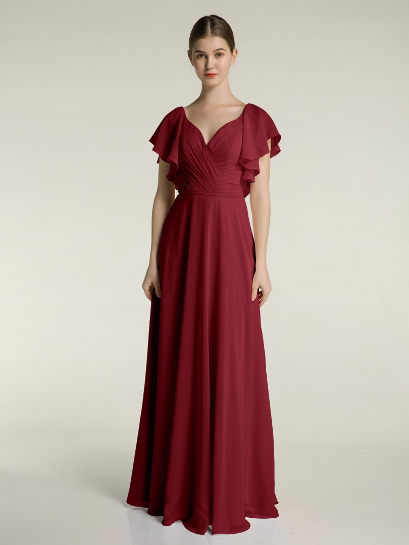 A-line Chiffon Stormy Zipper Belt, Bow, Ruched Floor-length V-neck Cap Sleeve New Arrivals