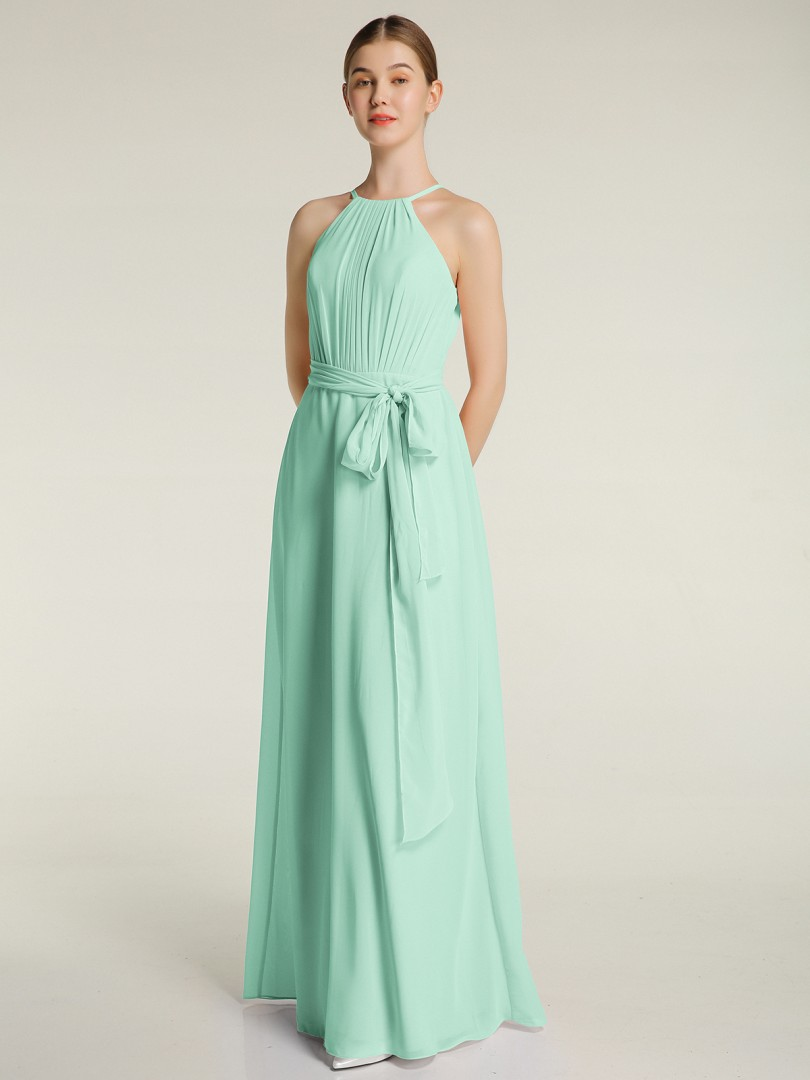 A-line Chiffon Daffodil Zipper Bow, Ruched, Pleated Floor-length Halter Sleeveless Long Bridesmaid Dresses