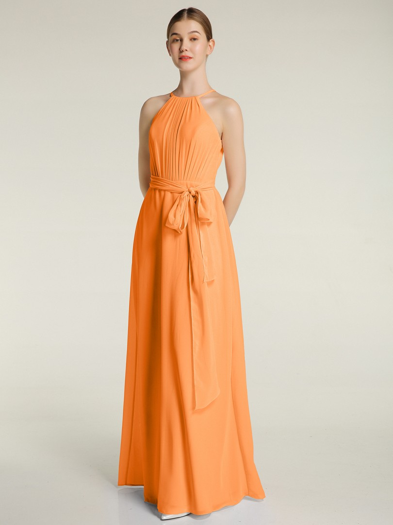 A-line Chiffon Daffodil Zipper Bow, Ruched, Pleated Floor-length Halter Sleeveless New Arrivals