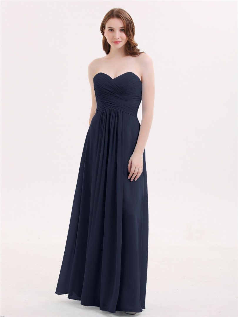 A-line Chiffon Ink Blue Zipper Ruched, Pleated Floor-length Sweetheart Sleeveless New Arrivals
