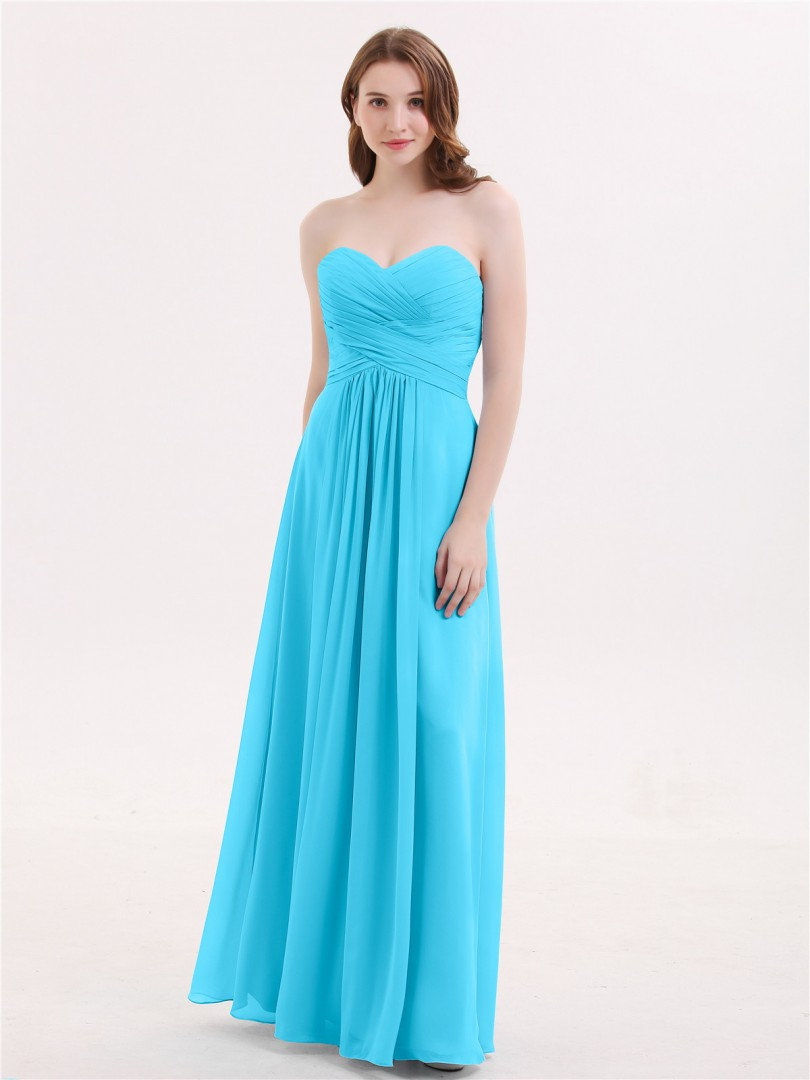 A-line Chiffon Ink Blue Zipper Ruched, Pleated Floor-length Sweetheart Sleeveless Sexy Prom Dresses