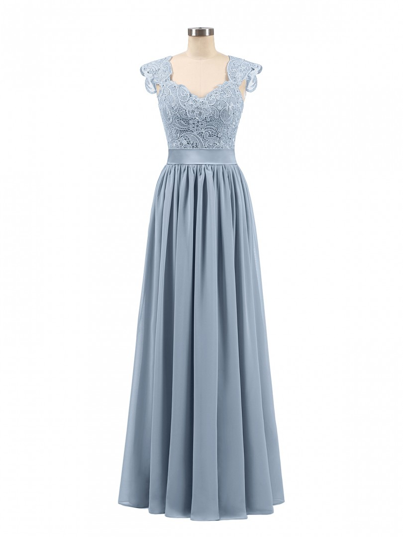 A-line Chiffon Silver Zipper Side Appliqued, Pleated Floor-length Scoop Sleeveless Wedding Party