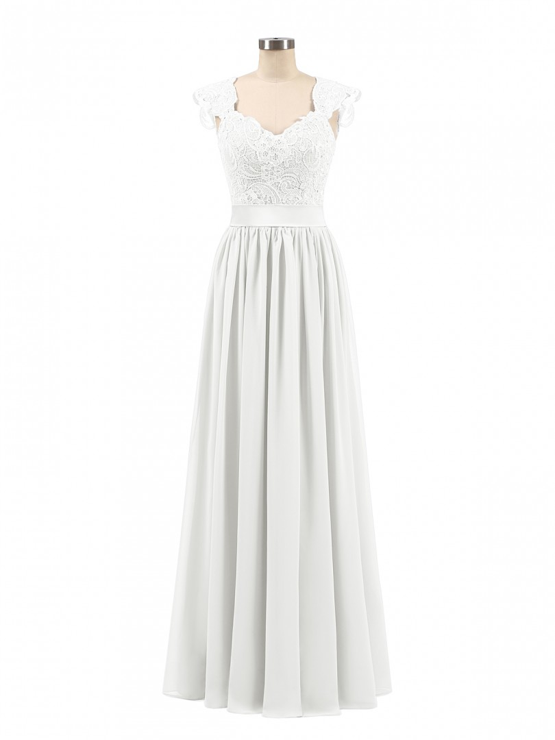 A-line Chiffon Silver Zipper Side Appliqued, Pleated Floor-length Scoop Sleeveless Long Bridesmaid Dresses