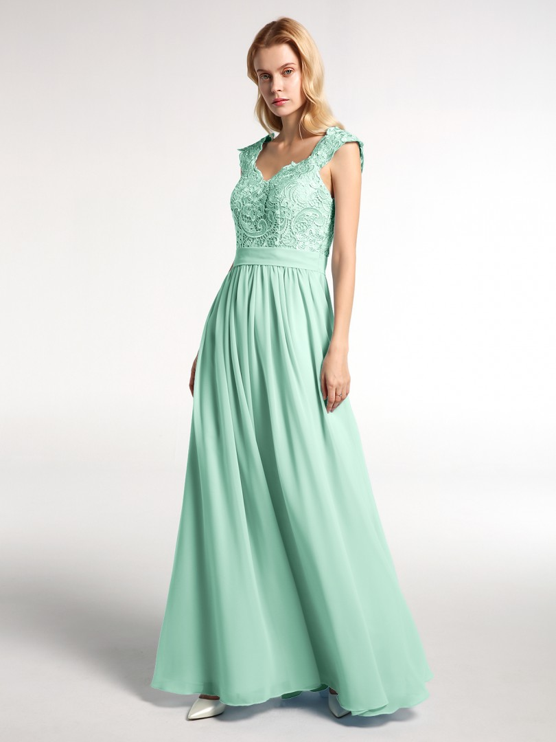 A-line Chiffon Mint Green Zipper Side Appliqued, Pleated Floor-length Scoop Sleeveless Prom Dresses