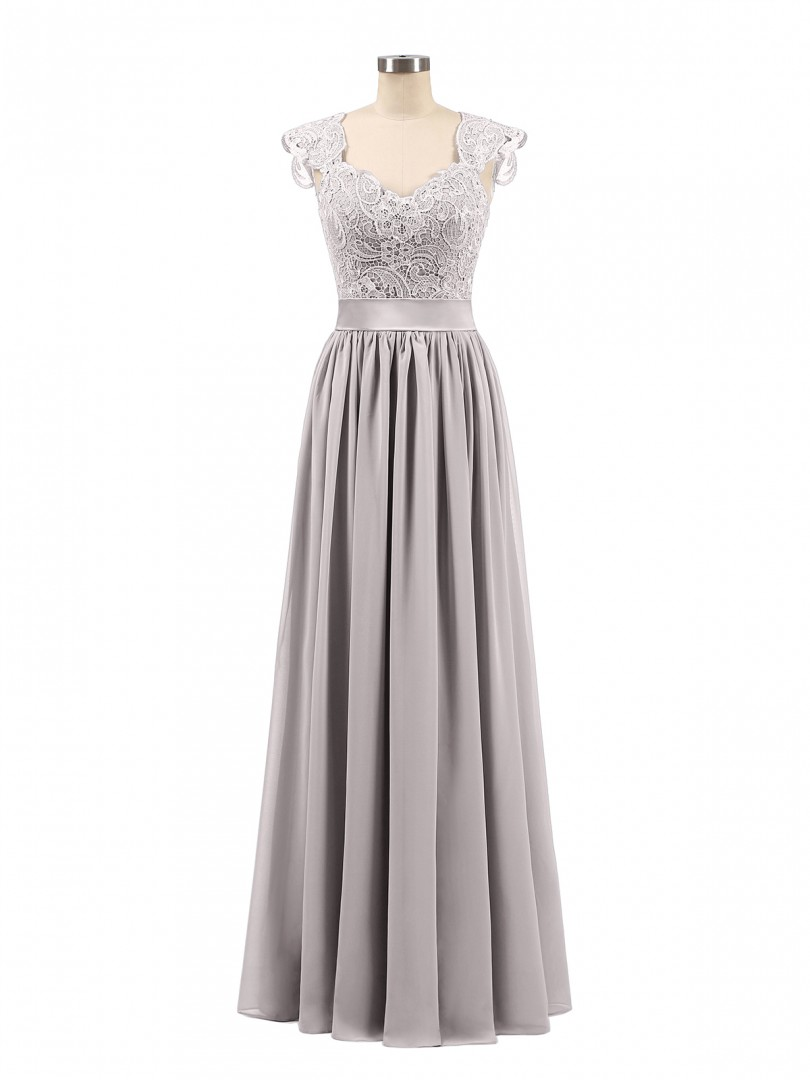 A-line Chiffon Silver Zipper Side Appliqued, Pleated Floor-length Scoop Sleeveless Chiffon Bridesmaid Dresses