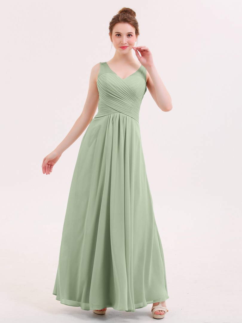 A-line Chiffon Dusty Sage Zipper Ruffle Floor-length V-neck Sleeveless Long Bridesmaid Dresses