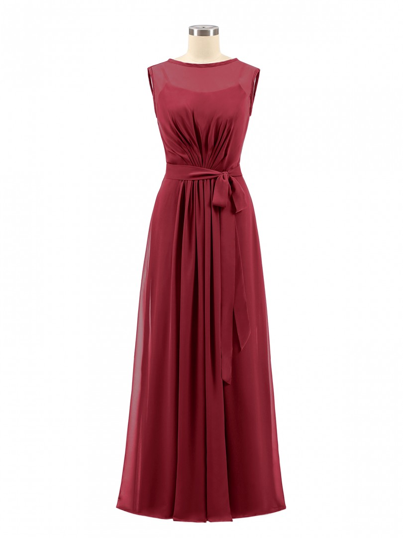 A-line Chiffon Dark Navy Zipper Bow, Ruched Floor-length Bateau Sleeveless Long Bridesmaid Dresses