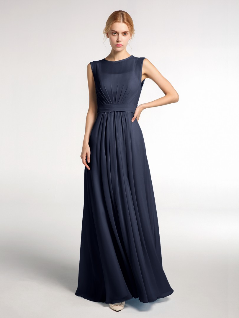 A-line Chiffon Dark Navy Zipper Bow, Ruched Floor-length Bateau Sleeveless Bridesmaid Dresses