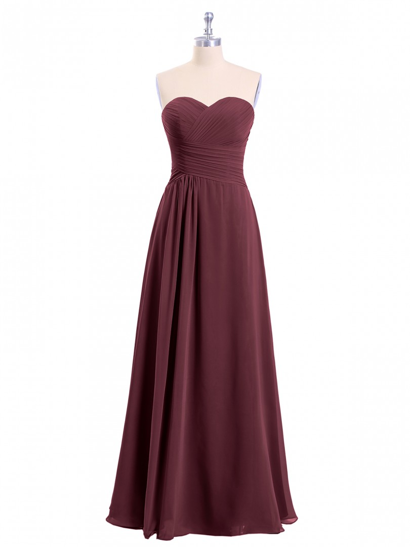 A-line Chiffon Cabernet Zipper Ruched, Pleated Floor-length Halter Sleeveless Bridesmaid Dresses