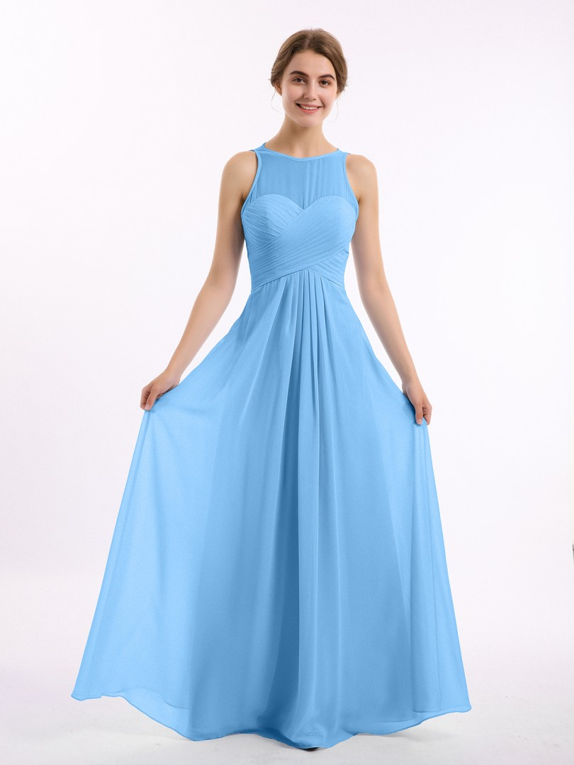 Empire Chiffon Blue Zipper Ruched, Pleated Floor-length Scoop Sleeveless Prom Dresses