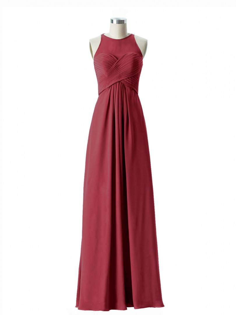 Empire Chiffon Fuchsia Zipper Ruched, Pleated Floor-length Scoop Sleeveless Long Bridesmaid Dresses