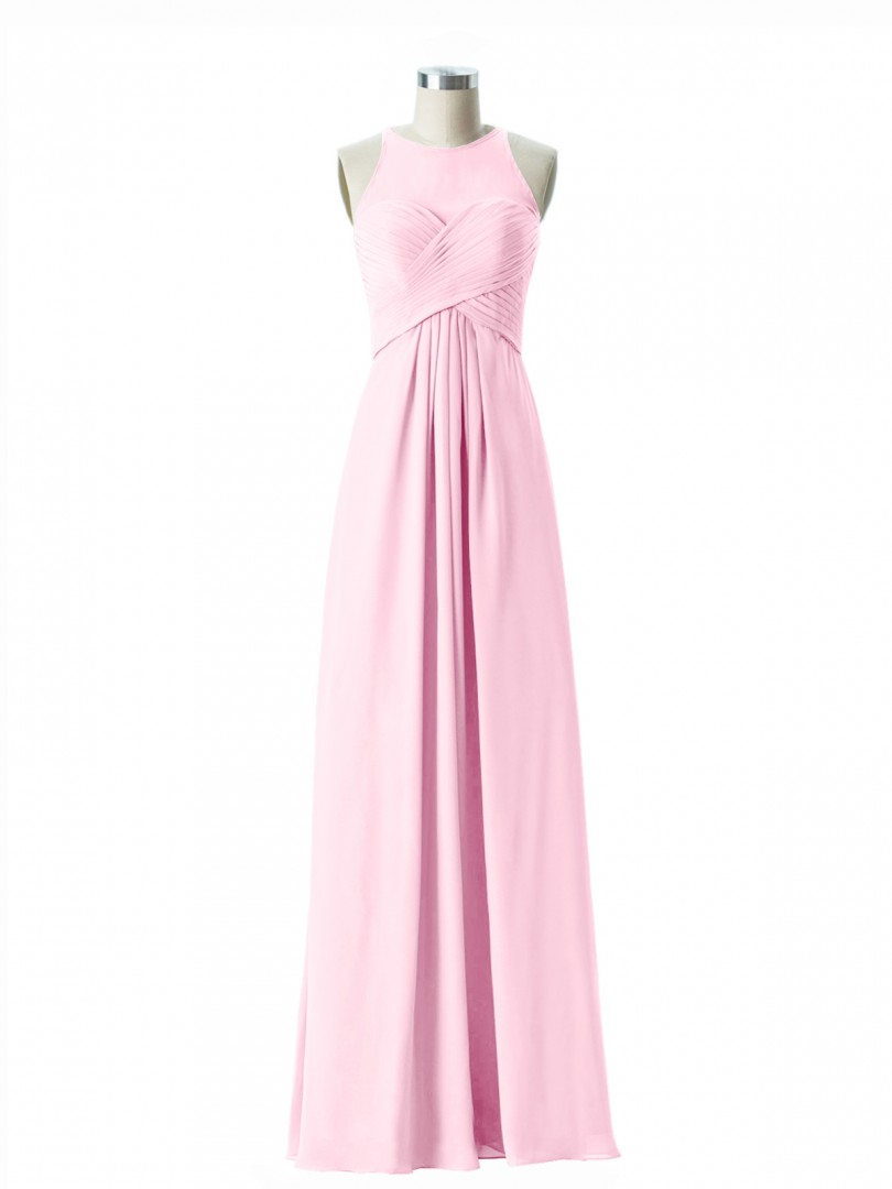 1bd297b5def7 Candy Pink Jocelyn Illusion Sweetheart Neck Empire Chiffon Gown ...