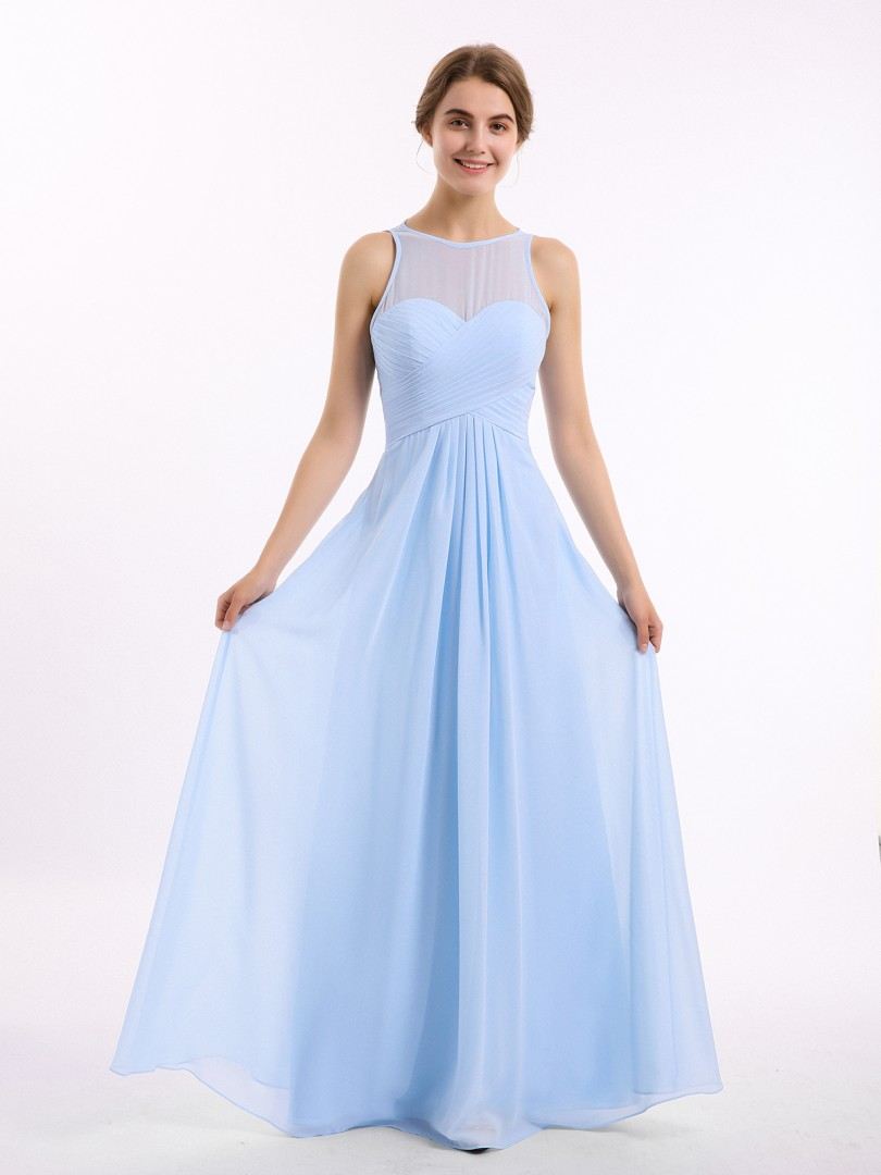 Empire Chiffon Blue Zipper Ruched, Pleated Floor-length Scoop Sleeveless Long Bridesmaid Dresses