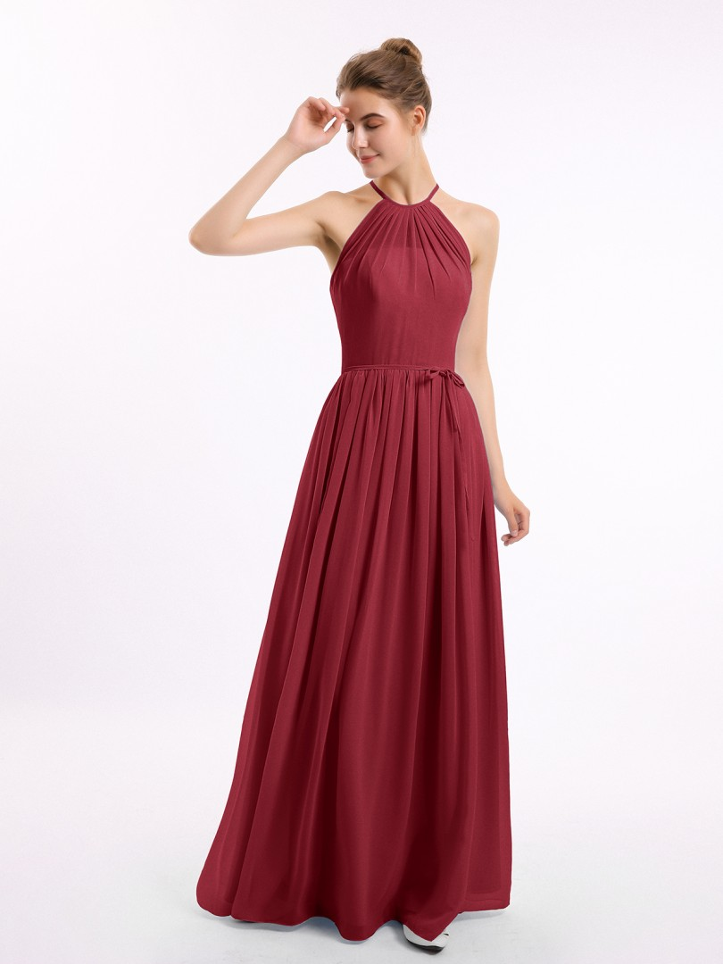 A-line Chiffon Burgundy Zipper Ruched Floor-length Halter Sleeveless Long Bridesmaid Dresses
