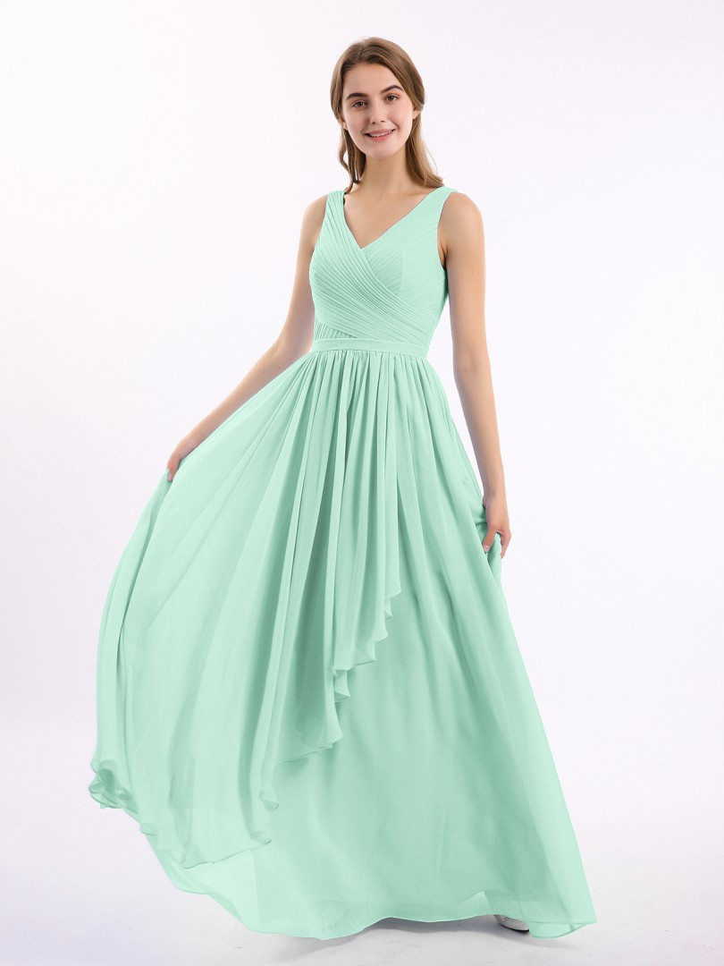 A-line Chiffon Dark Navy Zipper Ruffle, Ruched, Pleated Floor-length V-neck Sleeveless Long Bridesmaid Dresses