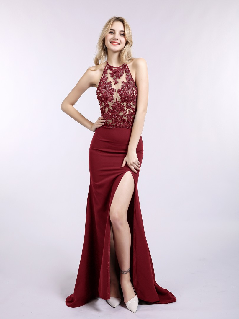 Trumpet/Mermaid Jersey Burgundy Zipper Appliqued, Beaded Sweep/Brush Train Halter Sleeveless Prom Dresses