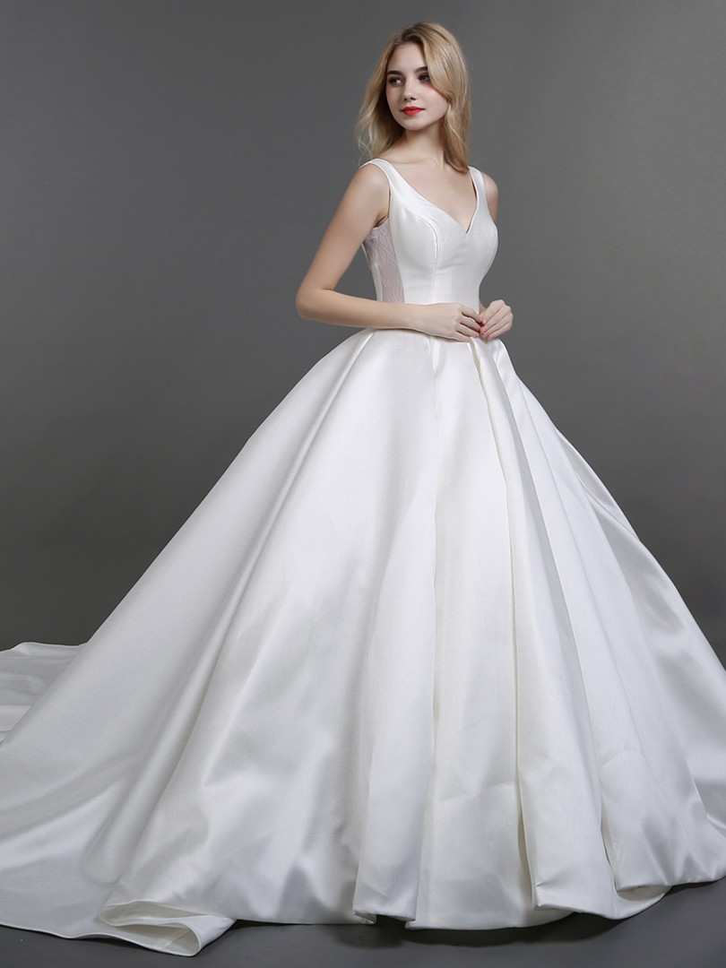 Ball Gown Satin Ivory Lace-up Pocket Chapel train V-neck Sleeveless Simple Wedding Dresses
