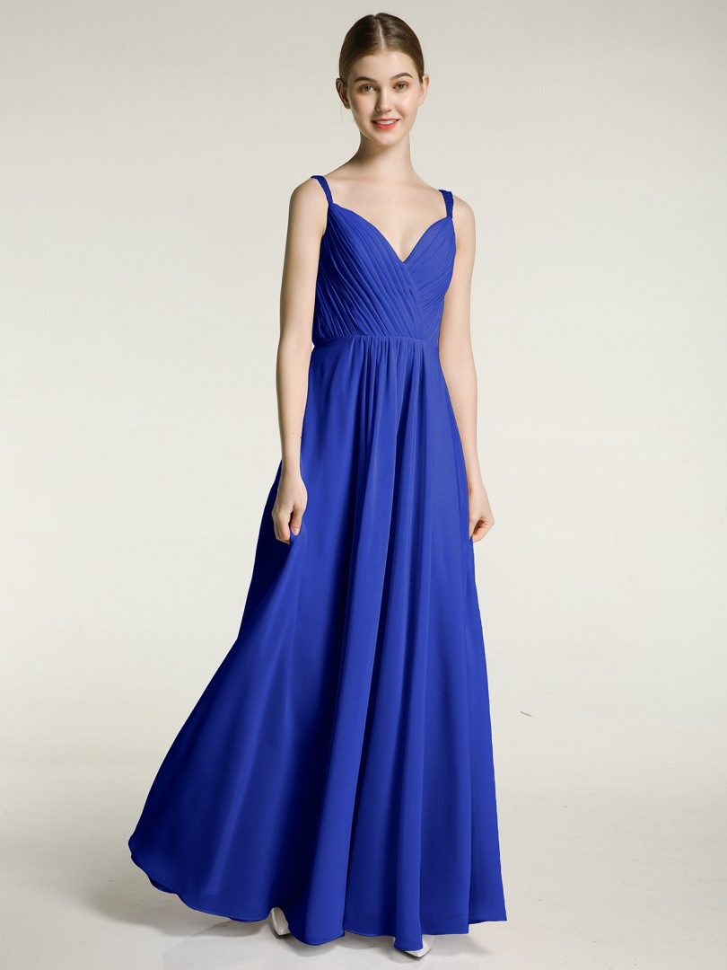 A-line Chiffon Blue Zipper Beaded, Pleated Floor-length V-neck Straps New Arrivals