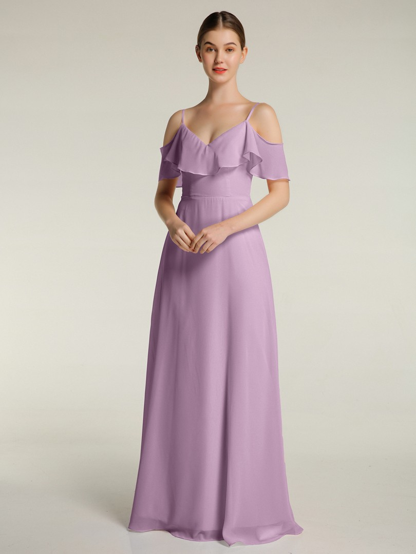 A-line Chiffon Mist Zipper Ruffle Floor-length V-neck Spaghetti Straps Long Bridesmaid Dresses